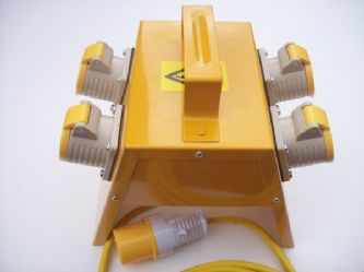 4 way 110volt 16amp yellow spider box with 5m 2.5mm cable